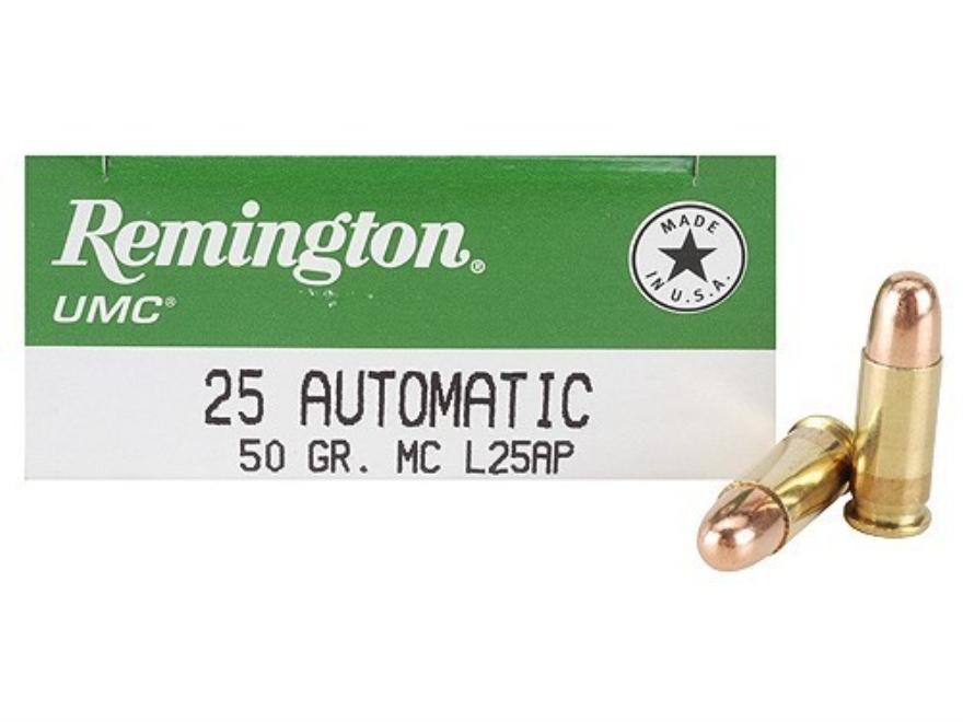 Remington UMC Ammunition 25 ACP 50 Grain Full Metal Jacket Box of 50