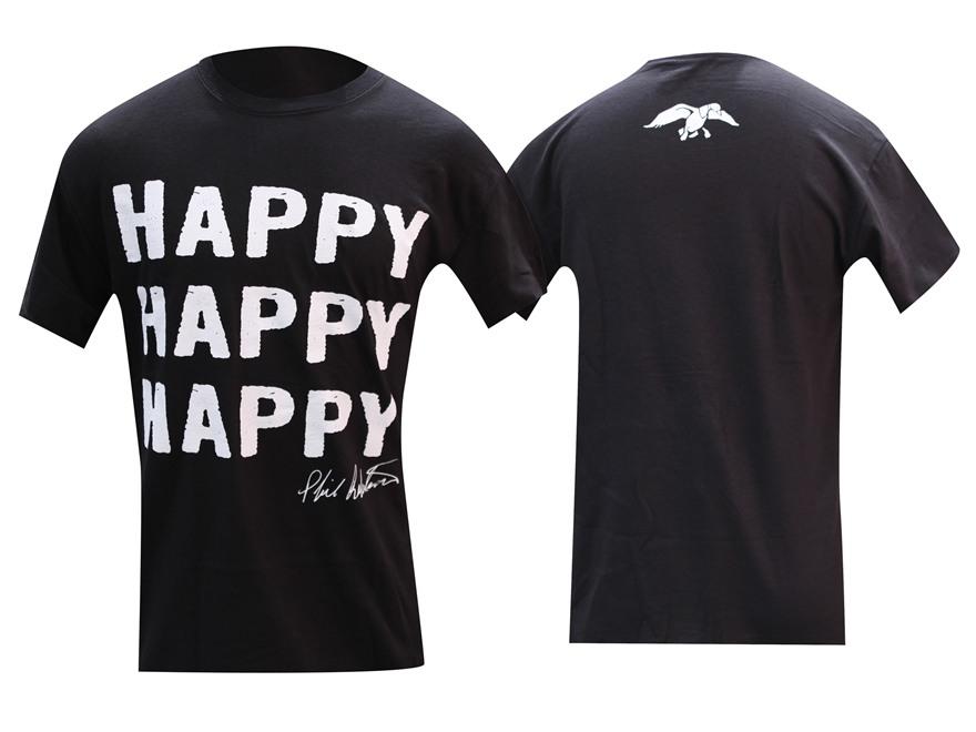 "Duck Commander Men's ""Happy Happy Happy"" T-Shirt Short Sleeve Cotton Black Medium"