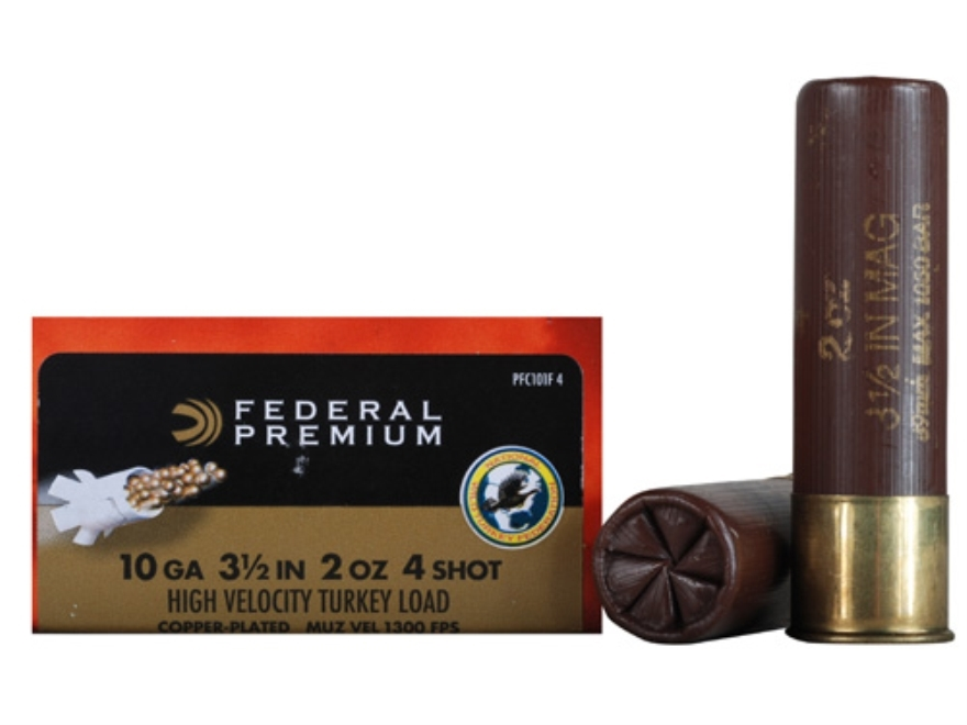 "Federal Premium Mag-Shok Turkey Ammunition 10 Gauge 3-1/2"" 2 oz #4 Copper Plated Shot High Velocity Box of 10"