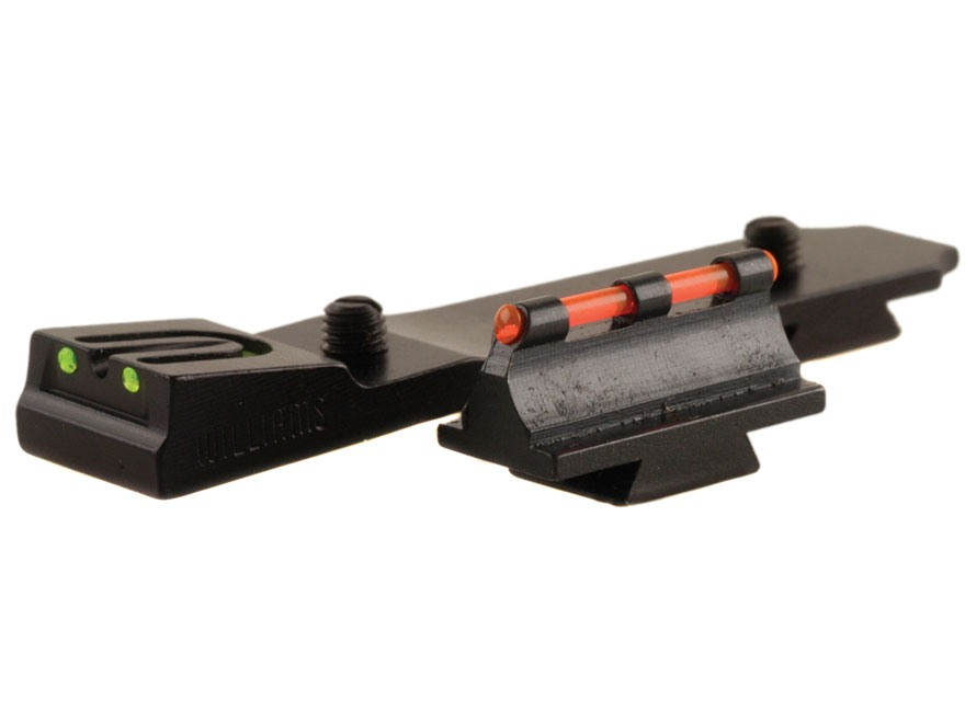 Williams Fire Sight Set Ruger 10/22 Aluminum Black Fiber Optic Green