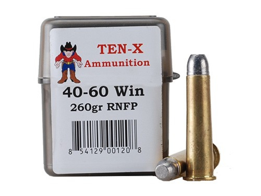 Ten-X Cowboy Ammunition 40-60 WCF 260 Grain Lead Round Nose Flat Point Box of 20
