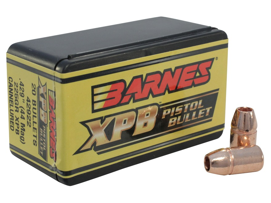 Barnes XPB Handgun Bullets 44 Caliber (429 Diameter) 225 Grain Solid Copper Hollow Point Lead-Free Box of 20