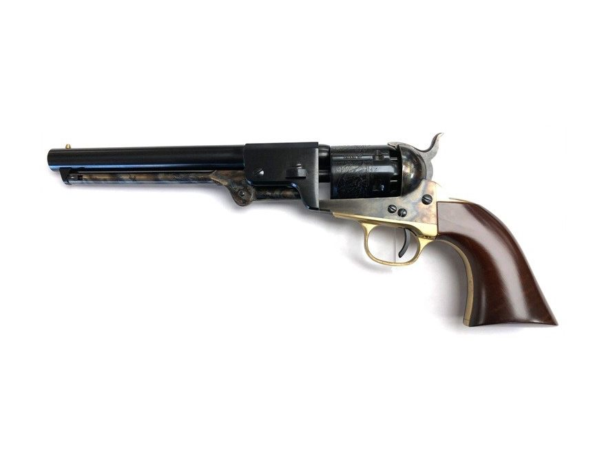 "Uberti 1851 Navy Leech-Rigdon Steel Frame Black Powder Revolver 36 Caliber 7-1/2"" Round Blue Barrel"