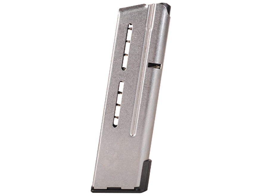 Wilson Combat Elite Tactical Magazine ETM with Low Profile Steel Base Pad 1911 Officer 9mm Luger 10-Round Stainless Steel