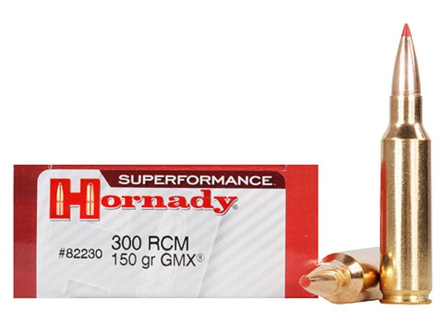 Hornady SUPERFORMANCE GMX Ammunition 300 Ruger Compact Magnum (RCM) 150 Grain Gilding Metal Expanding Boat Tail Lead-Free Box of 20
