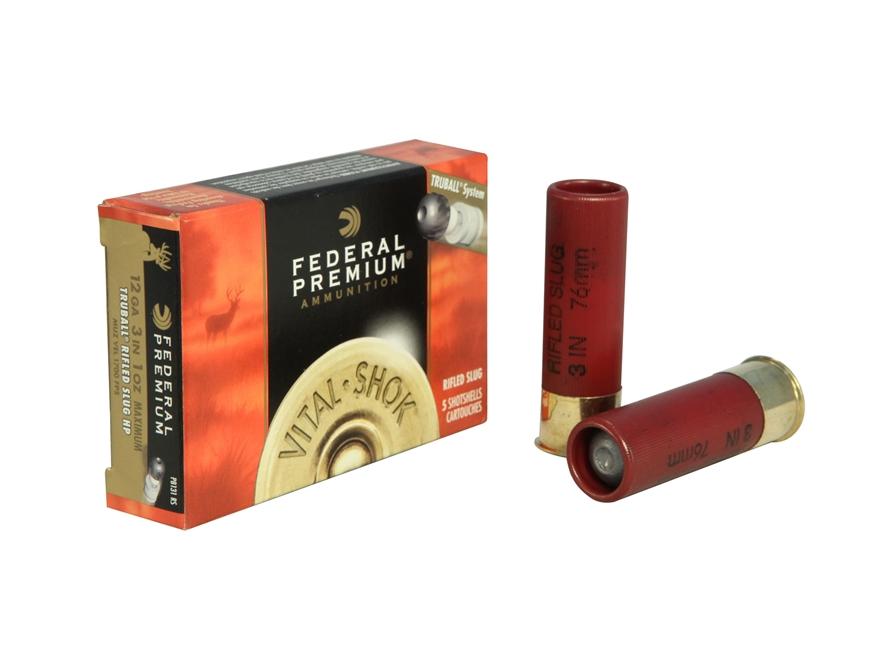"Federal Premium Vital-Shok Ammunition 12 Gauge 3"" 1 oz TruBall Hollow Point Rifled Slug Box of 5"