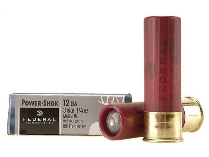 "Federal Power-Shok Ammunition 12 Gauge 3"" 1-1/4 oz Hollow Point Rifled Slug Box of 5"