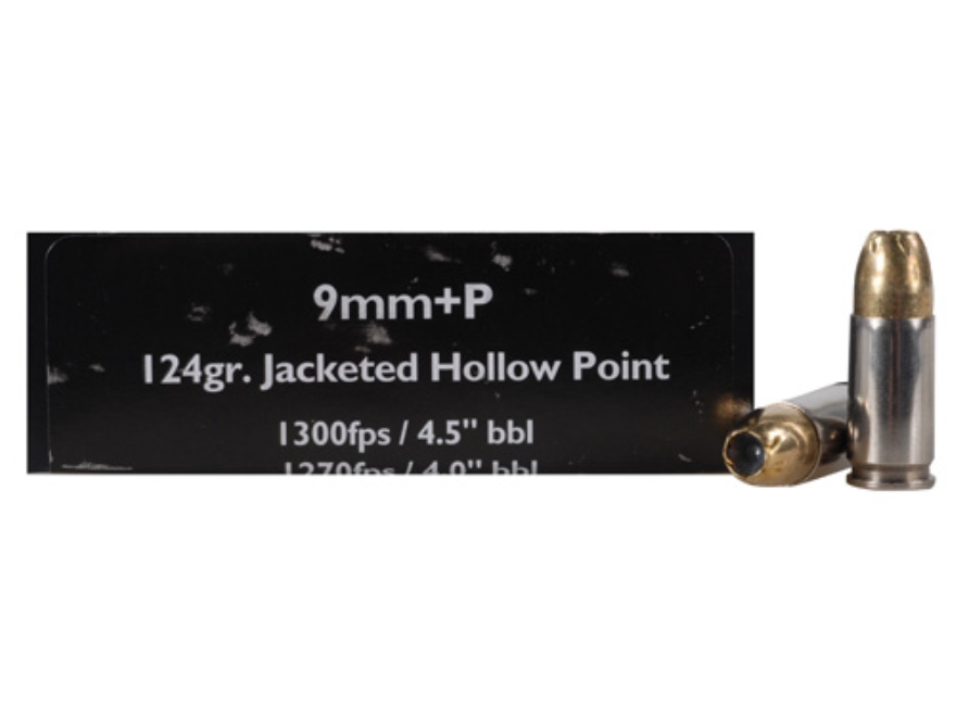 Doubletap Ammunition 9mm Luger +P 124 Grain Brass Jacketed Hollow Point Box of 50