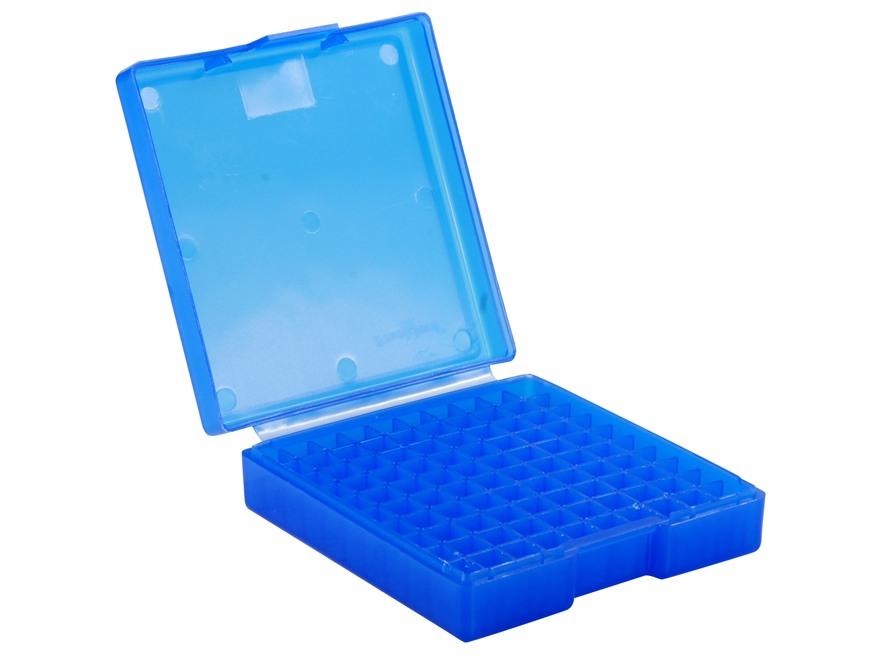 Frankford Arsenal Flip-Top Ammo Box #1001 30 Luger, 380 ACP, 9mm Luger 100-Round Plastic Blue Box of 10