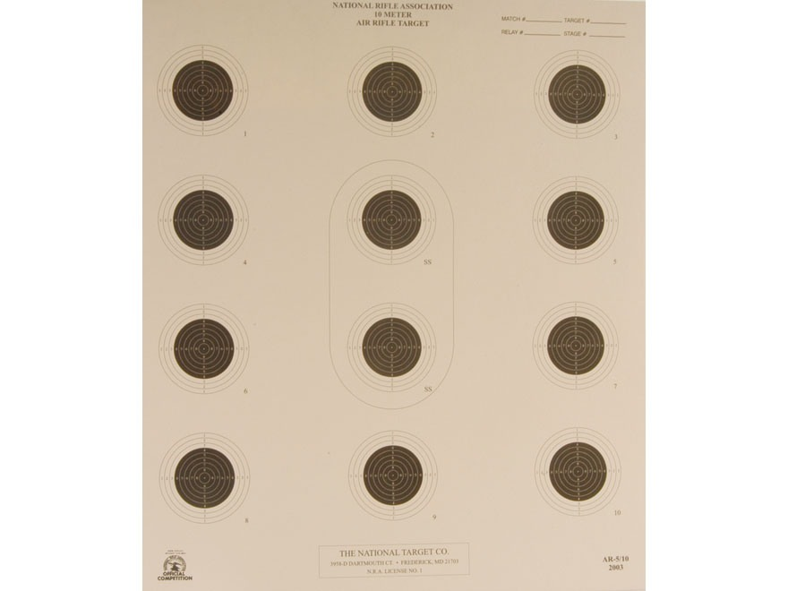NRA Official Air Rifle Targets AR-5/10 10 Meter Air Rifle Paper Package of 100