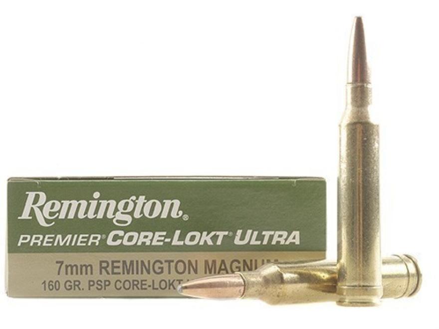 Remington Premier Ammunition 7mm Remington Magnum 160 Grain Core-Lokt Ultra Bonded Poin...