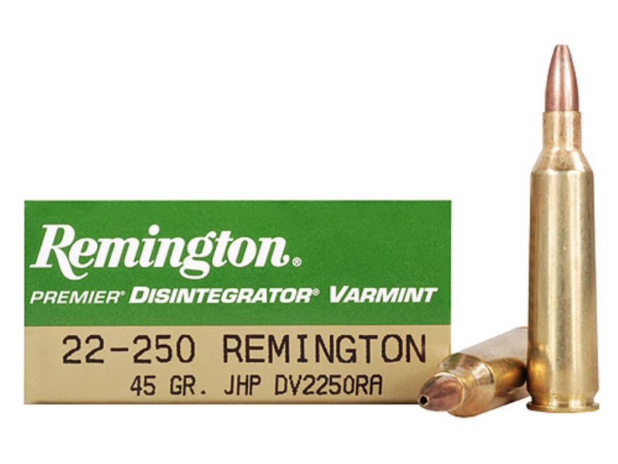 Remington Disintegrator Varmint Ammunition 22-250 Remington 45 Grain Jacketed Iron Core...