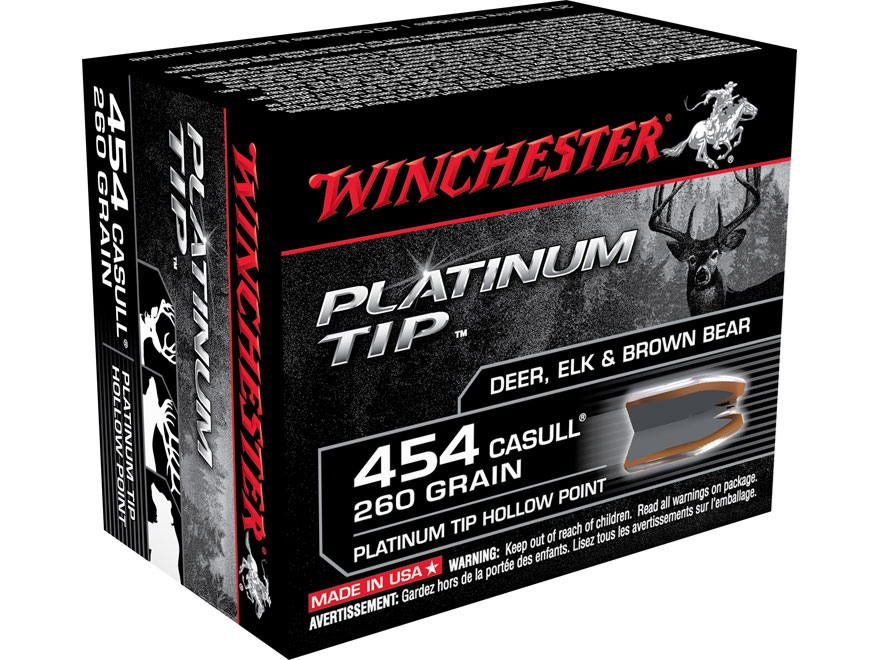 Winchester Ammunition 454 Casull 260 Grain Platinum Tip Hollow Point Box of 20