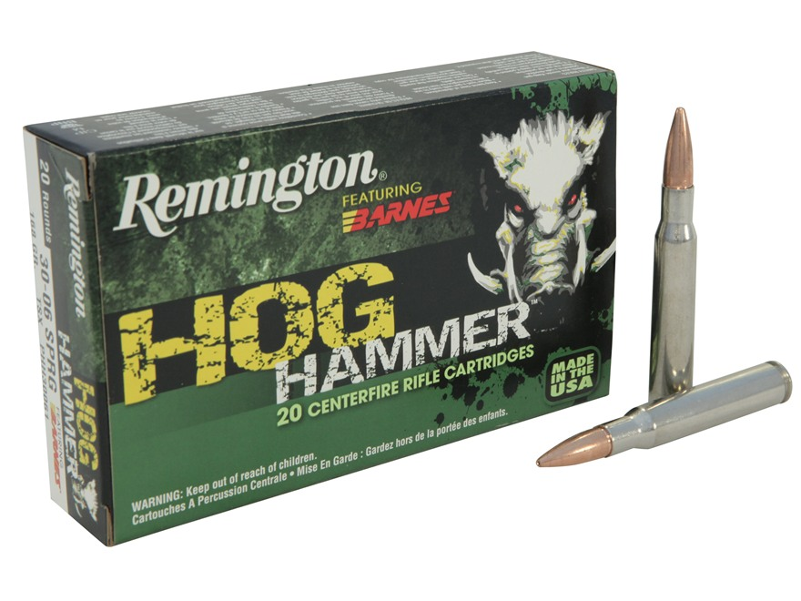 Remington Hog Hammer Ammunition 30-06 Springfield 168 Grain Barnes Triple-Shock X Bullet Hollow Point Lead-Free Box of 20