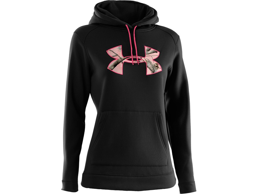 Under Armour Women's Tackle Twill Hooded Sweatshirt Polyester Black and Realtree AP Pink Camo Medium