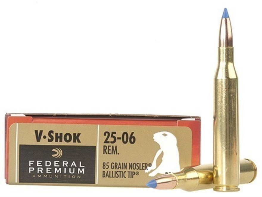 Federal Premium V-Shok Ammunition 25-06 Remington 85 Grain Nosler Ballistic Tip Box of 20