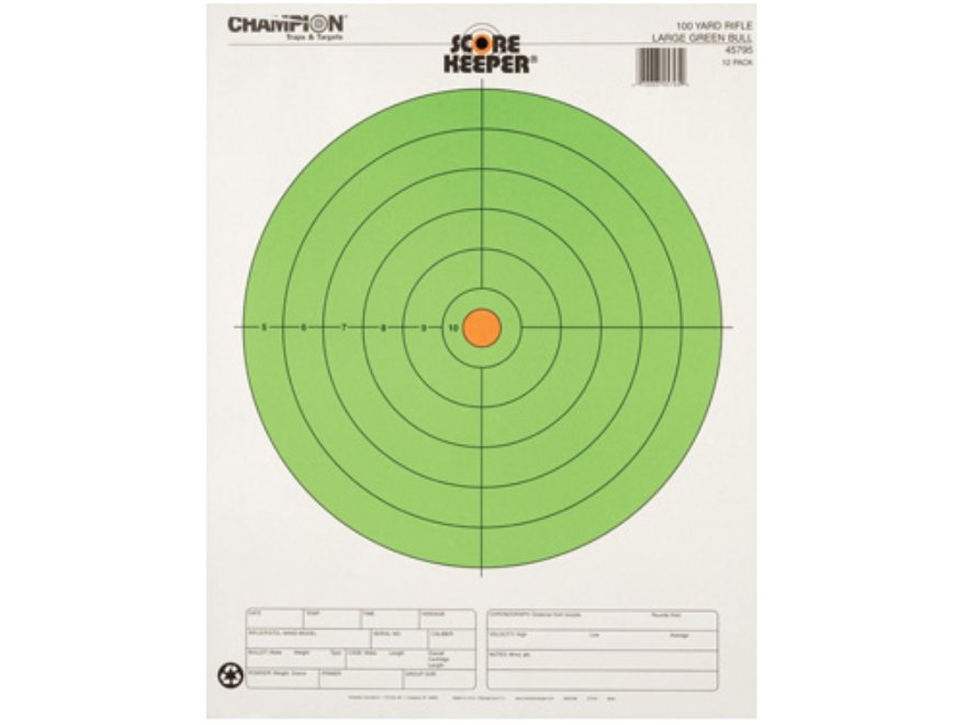 "Champion Score Keeper 100 Yard Rifle 8"" Bullseye Targets 14"" x 18"" Paper Fluorescent Green Bull Package of 12"