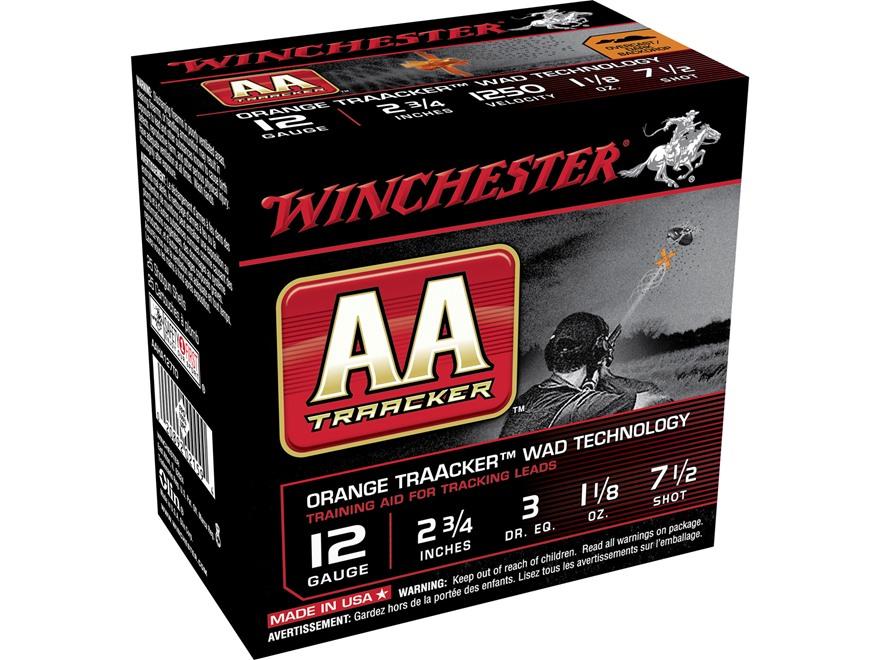 "Winchester AA Heavy TrAAcker Ammunition 12 Gauge 2-3/4"" 1-1/8 oz #7-1/2 Shot Orange Wad"