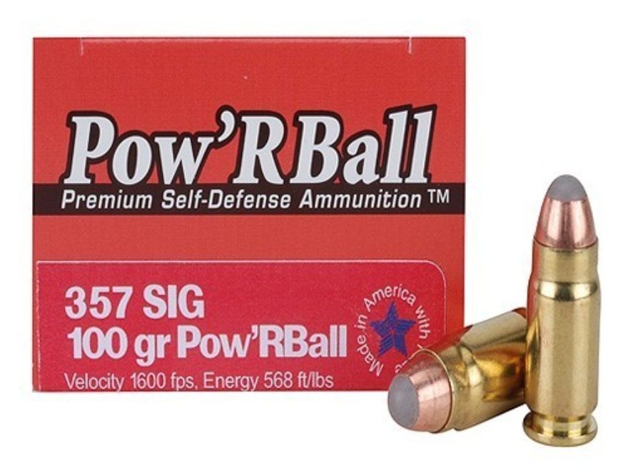 Glaser Pow'RBall Ammunition 357 Sig 100 Grain Box of 20