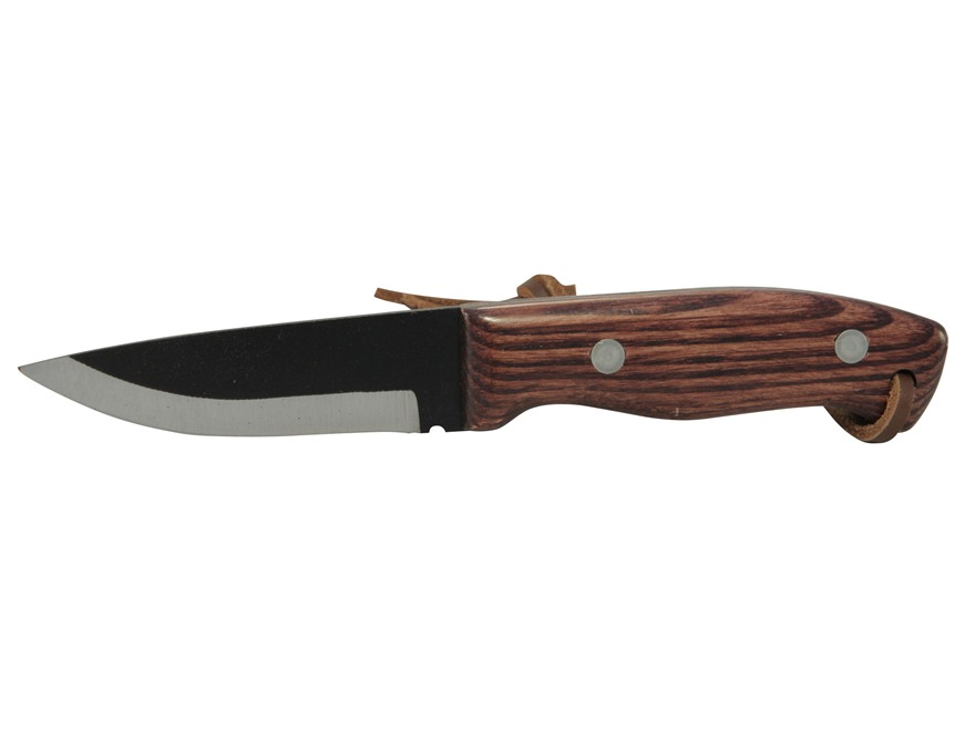 "Pro Tool J. Wayne Fears Ultimate Deer Hunter's Fixed Blade Knife 4"" Drop Point 1095 High Carbon Steel Black Powder Coated Blade Wood Handle"