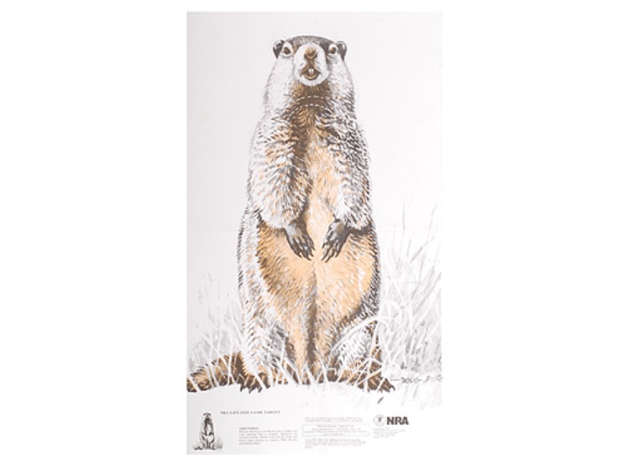 NRA Official Lifesize Game Targets Groundhog Paper Pack of 50