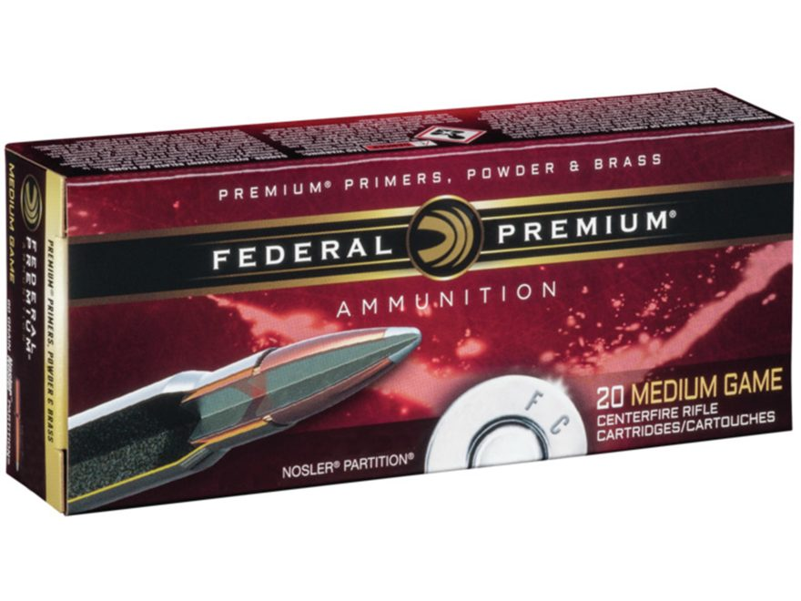 Federal Premium Vital-Shok Ammunition 30-06 Springfield 165 Grain Nosler Partition Box of 20