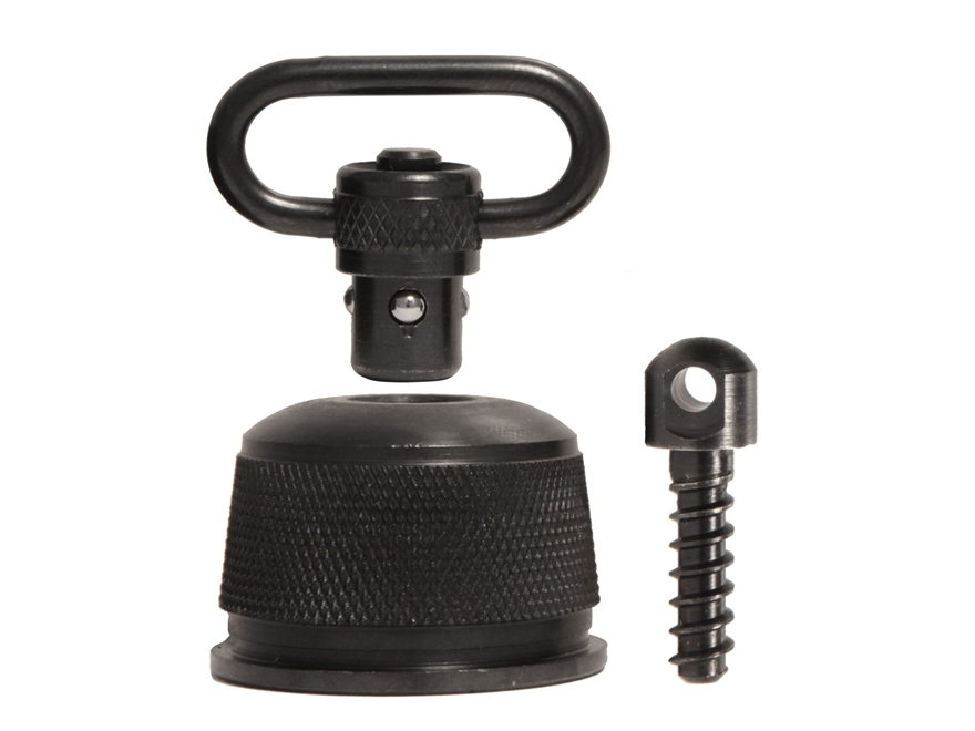 "GrovTec Push Button Magazine Cap with 1"" Quick Detach Sling Swivel Remington 870, 11-87, 1100 12 Gauge Steel Black"