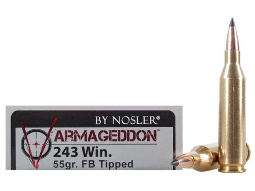 Nosler Varmageddon Ammunition 243 Winchester 55 Grain Tipped Flat Base Box of 20