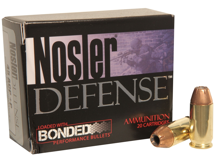 Nosler Defense Ammunition 45 ACP 230 Grain Bonded Jacketed Hollow Point Box of 20