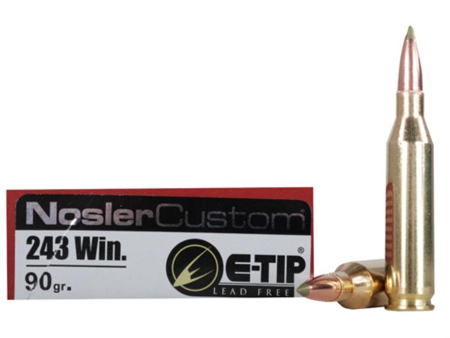 Nosler Trophy Grade Ammunition 243 Winchester 90 Grain E-Tip Lead-Free Box of 20