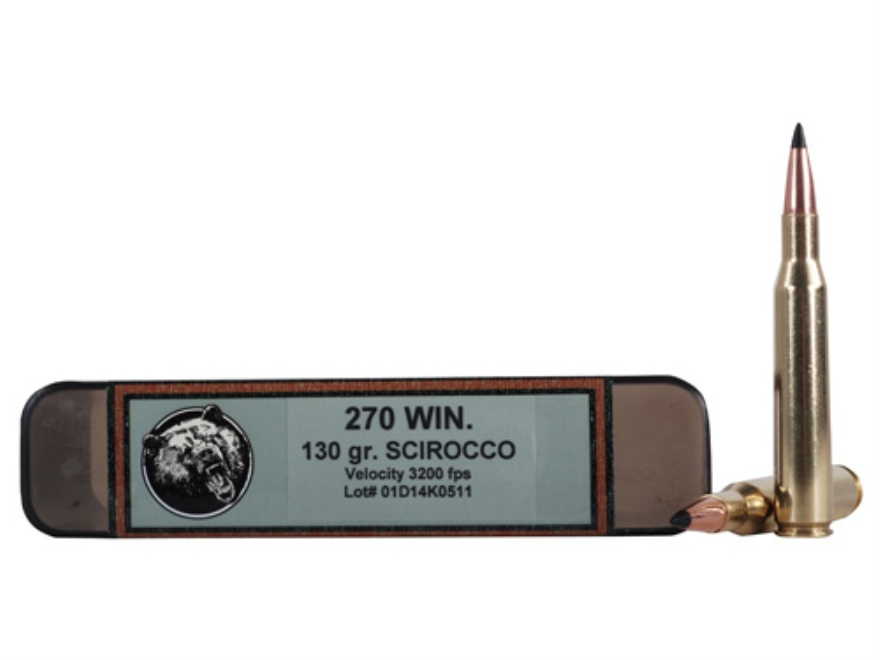Grizzly Ammunition 270 Winchester 130 Grain Swift Scirocco Polymer Tip Boat Tail Box of 20