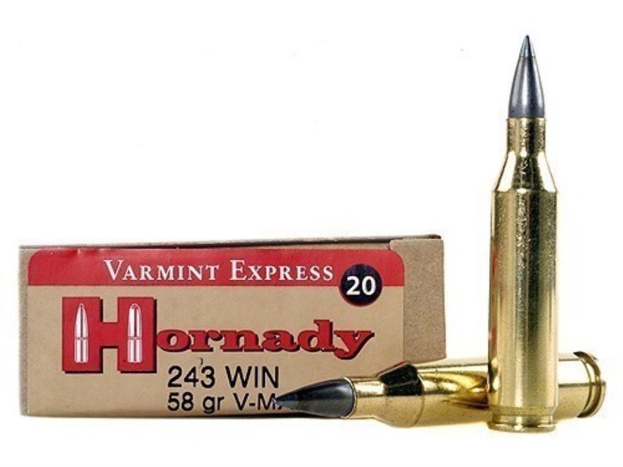 Hornady Varmint Express Ammunition 243 Winchester 58 Grain V-Max Moly Box of 20