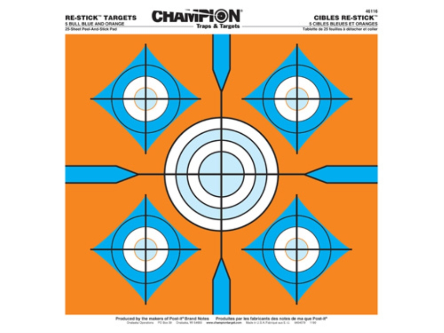 "Champion Re-Stick 5 Bull Blue and Orange Self-Adhesive Targets 14.5"" x 14.5"" Paper Pack of 25"