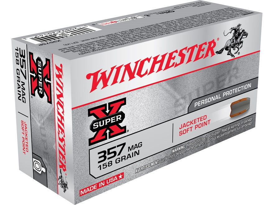 Winchester Super-X Ammunition 357 Magnum 158 Grain Jacketed Soft Point Box of 50