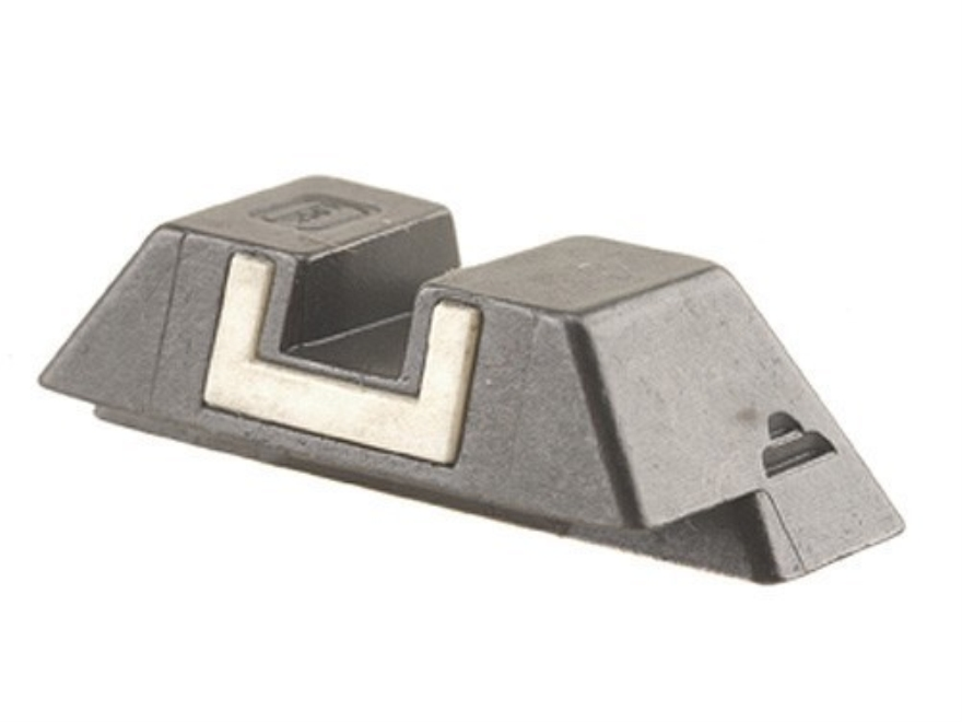 "Glock Square Rear Sight 6.9mm .271"" Height Steel Black White Outline"