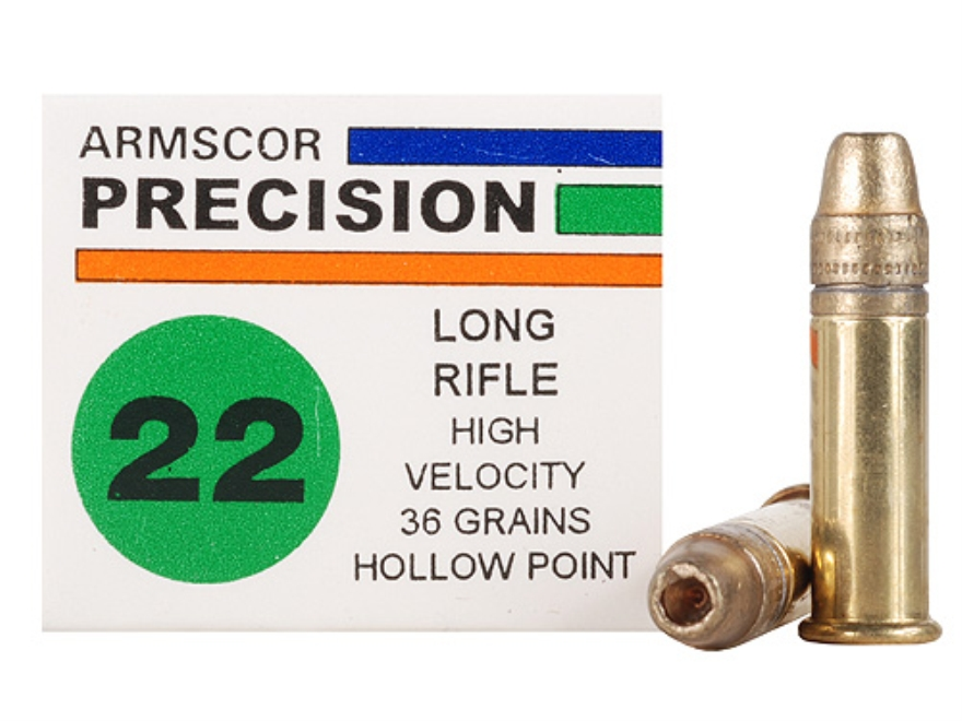 Armscor Ammunition 22 Long Rifle 36 Grain High Velocity Lead Hollow Point Box of 500 (10 Boxes of 50)
