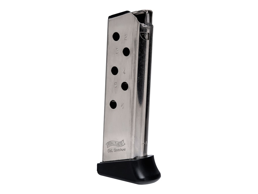 Walther Magazine PPK 380 ACP 6-Round Nickel With Finger Rest