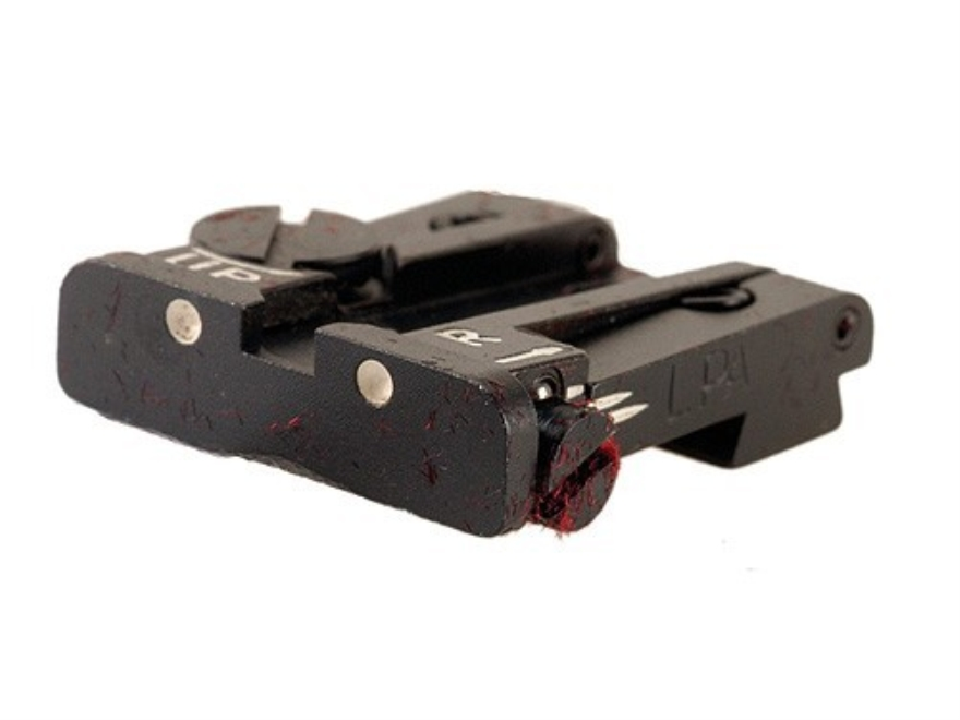 """LPA TPU Rear Sight Browning Hi-Power with .375"""" Dovetail Steel Blue 3-Dot"""