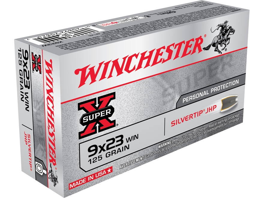 Winchester Super-X Ammunition 9x23mm Winchester 125 Grain Silvertip Hollow Point Box of 50