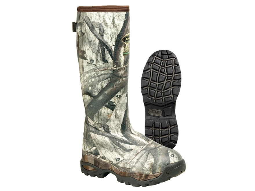 "LaCrosse Alpha Burly Sport 18"" Waterproof 1500 Gram Insulated Hunting Boots Rubber Clad Neoprene Mossy Oak Treestand Camo Mens 14"
