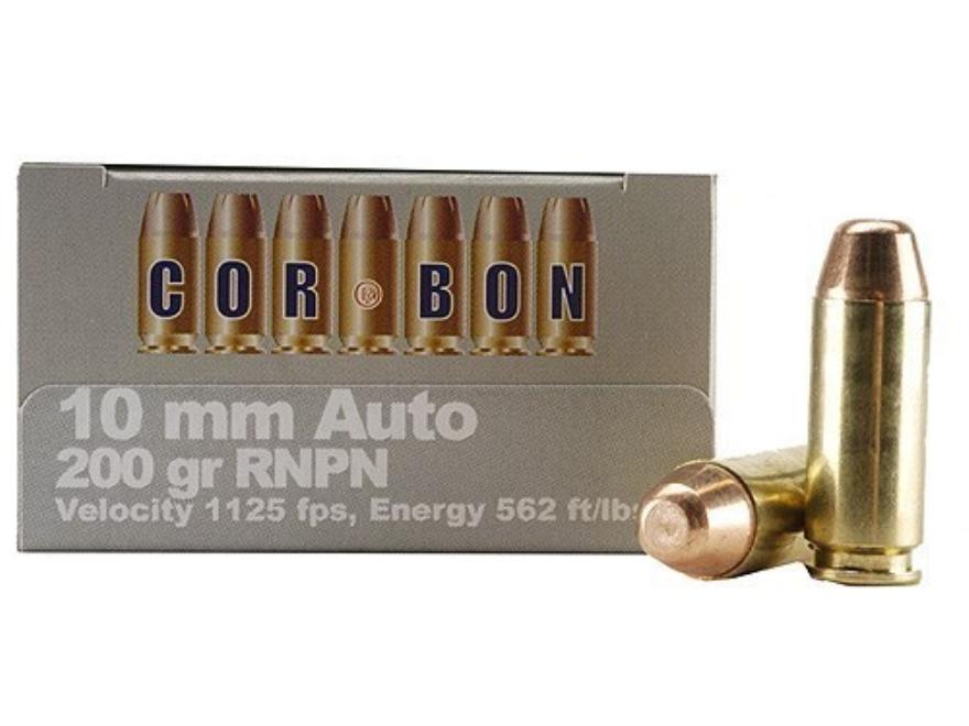 Cor-Bon Hunter Ammunition 10mm Auto 200 Grain Round Nose Penetrator Box of 20