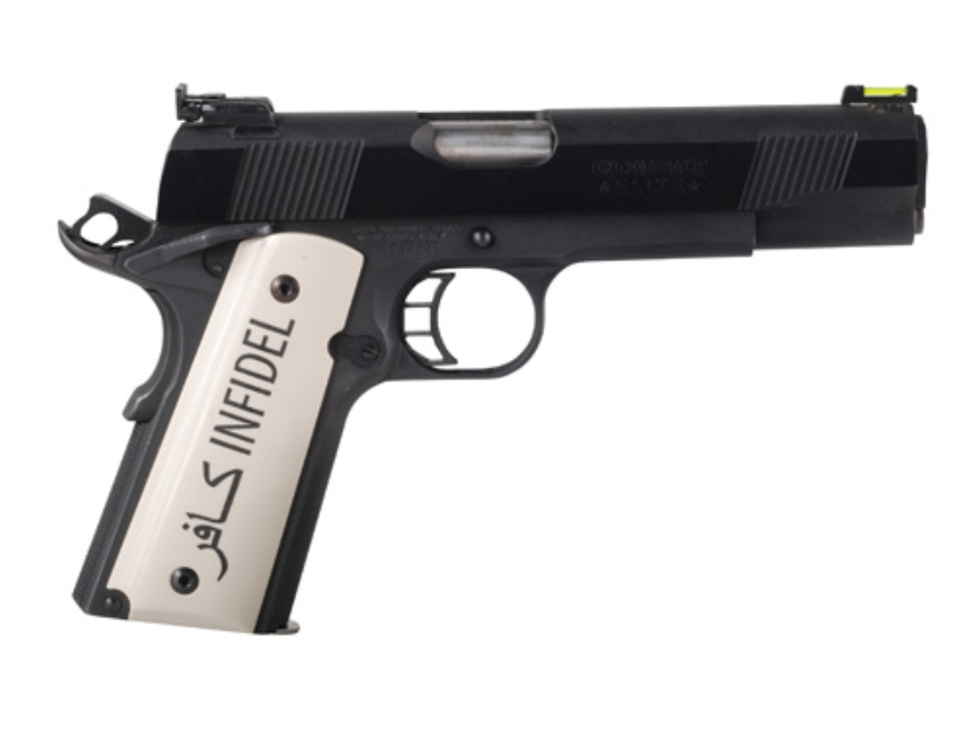 Hogue Grips 1911 Government, Commander Ivory Polymer with Infidel Insignia