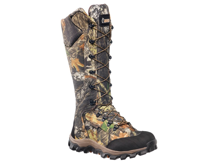 "Rocky Lynx 16"" Side-Zip Waterproof Uninsulated Snake Boots Nylon Mossy Oak Obsession Camo Men's 9.5 D"