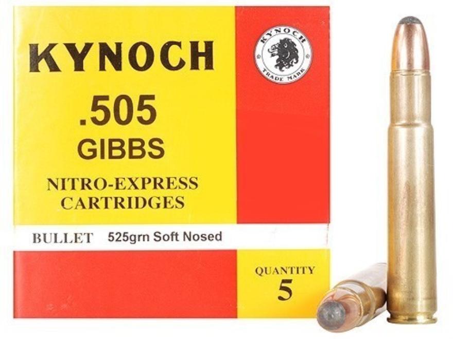 Kynoch Ammunition 505 Gibbs Magnum 525 Grain Woodleigh Weldcore Soft Point Box of 5