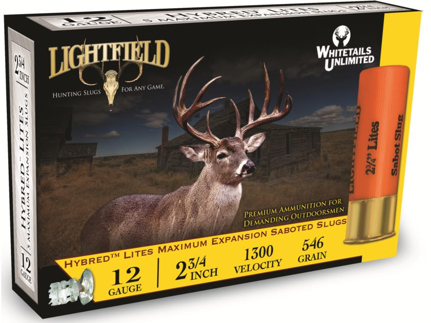 "Lightfield Hybred Lites Ammunition 12 Gauge 2-3/4"" 1-1/4 oz Sabot Slug Box of 5"