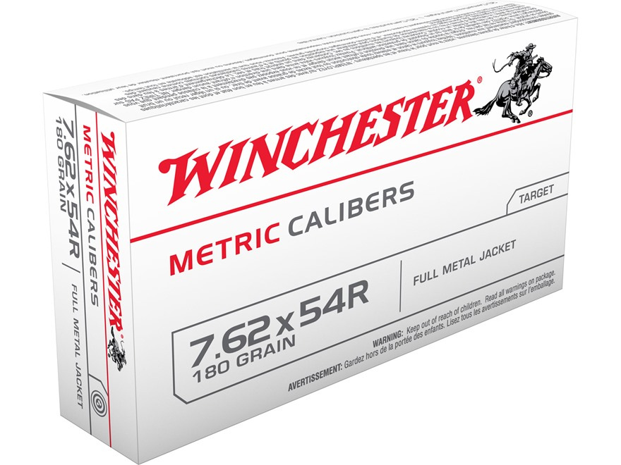 Winchester USA Ammunition 7.62x54mm Rimmed Russian 180 Grain Full Metal Jacket Box of 20