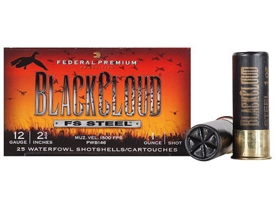 "Federal Premium Black Cloud Ammunition 12 Gauge 2-3/4"" 1 oz #3 Non-Toxic FlightStopper Steel Shot"