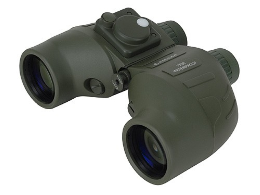 Barska Battalion Binocular 7x 50mm Porro Prism with Directional Compass and Rangefinder Rubber Armored Black