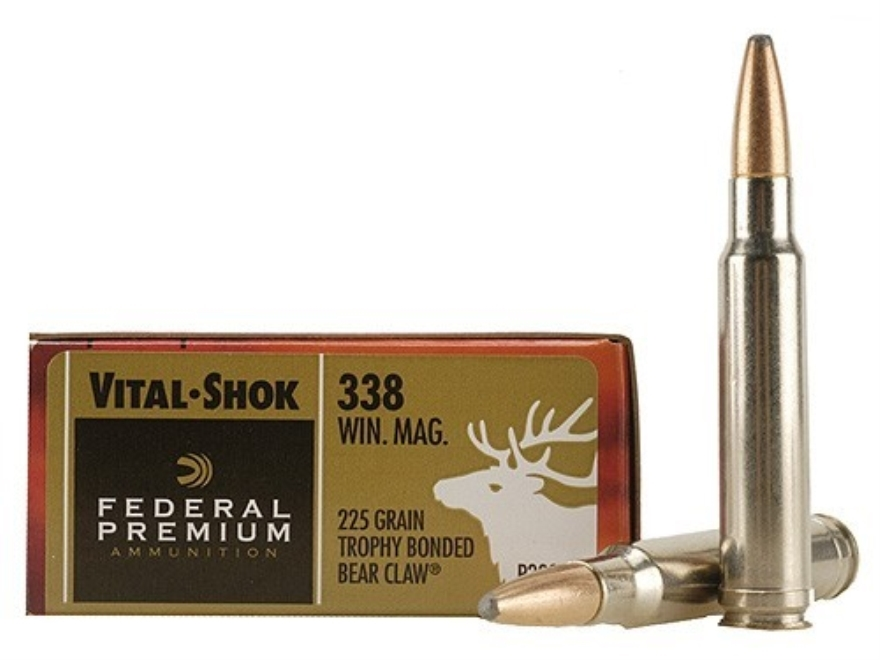 Federal Premium Vital-Shok Ammunition 338 Winchester Magnum 225 Grain Speer Trophy Bond...