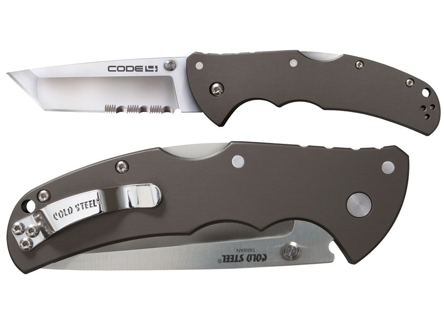 "Cold Steel Code-4 Folding Tactical Knife 3.5"" Half Serrated Tanto Point AUS 8A Stainless Steel Blade Aluminum Handle Gray"